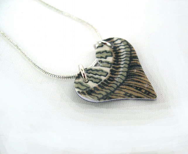 Unusual Gift Vintage Liberty of London Hardened Fabric Heart Necklace