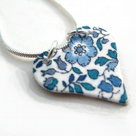 Unusual Gift Blues Pretty Liberty of London Hardened Fabric Heart Necklace