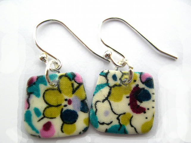 Unusual Gift  Sterling Silver Hardened Liberty of London Fabric Square Earrings