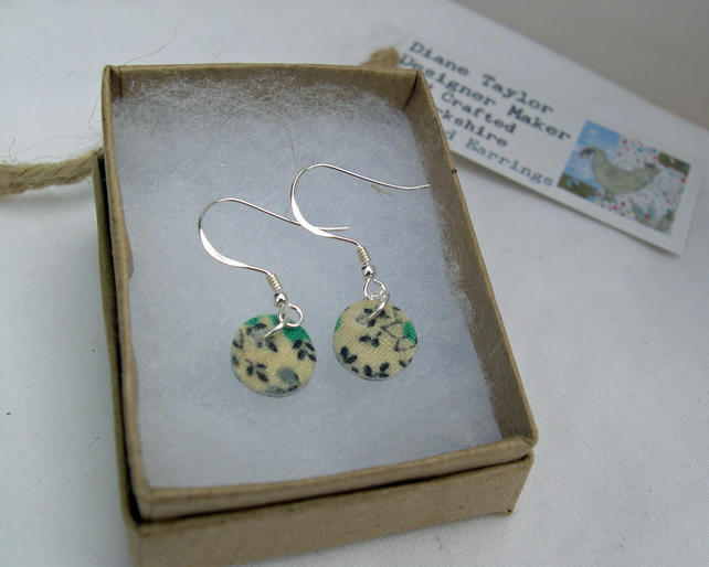 925 Sterling Silver Hardened Ditsy Green Fabric Disc Earrings