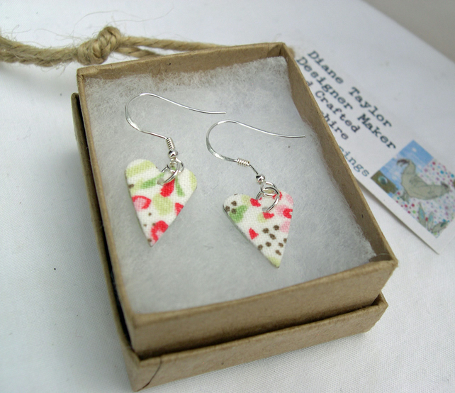 925 Sterling Silver Hardened Cath Kidston Fabric Heart Earrings