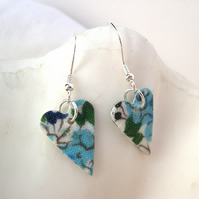 925 Sterling Silver Hardened Liberty Fabric Heart Earrings