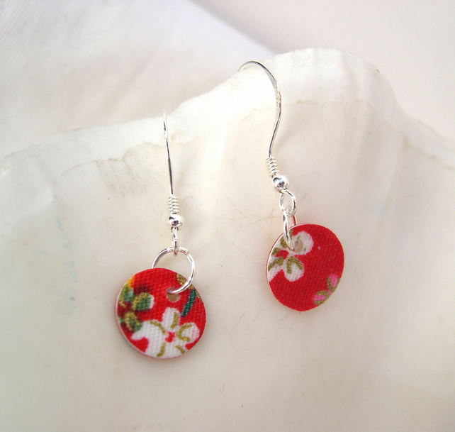 925 Sterling Silver Hardened Red Japanese Fabric Disc Earrings