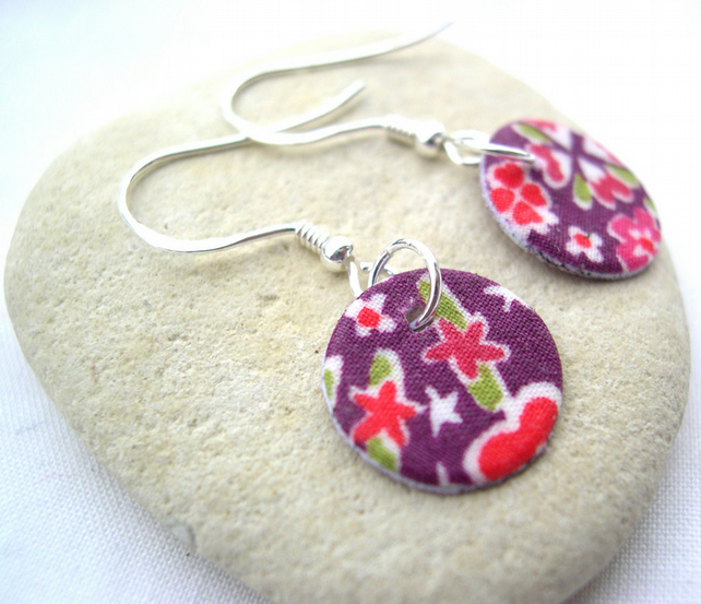 Unusual Gift Sterling Silver Hardened Liberty of London Fabric Disc Earrings