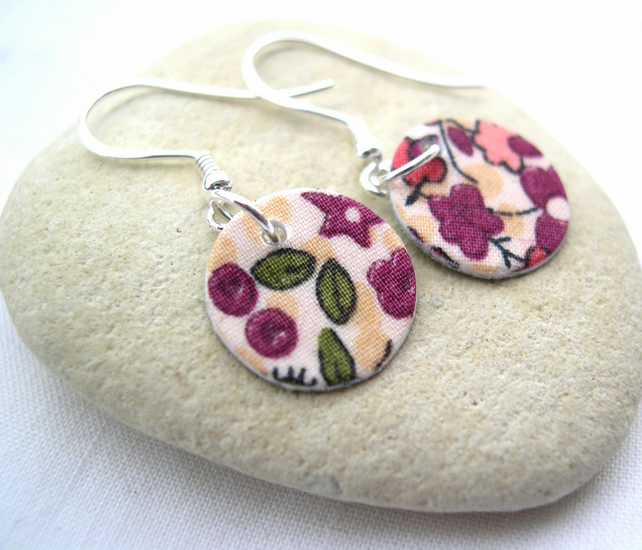 925 Sterling Silver Hardened Liberty of London Fabric Disc Earrings