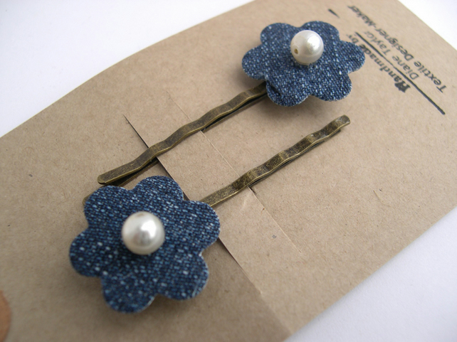 Hardened  Fabric Flower Hairclips