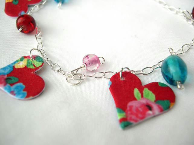 Sterling Silver Hardened Fabric Red Valentines Day Floral Ditsy Charm Bracelet