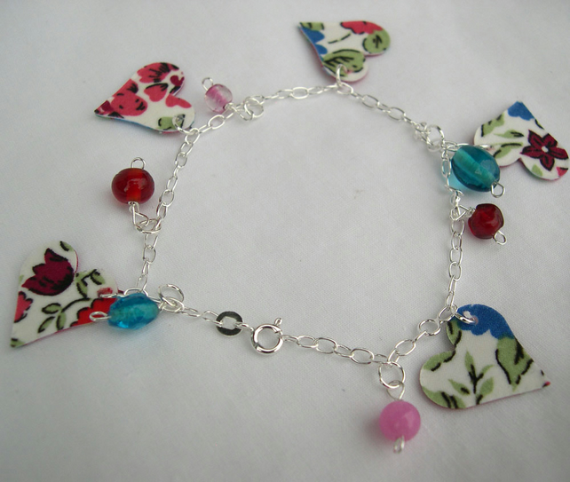 Sterling Silver Hardened Fabric Floral Ditsy Charm Bracelet with Glass Beads