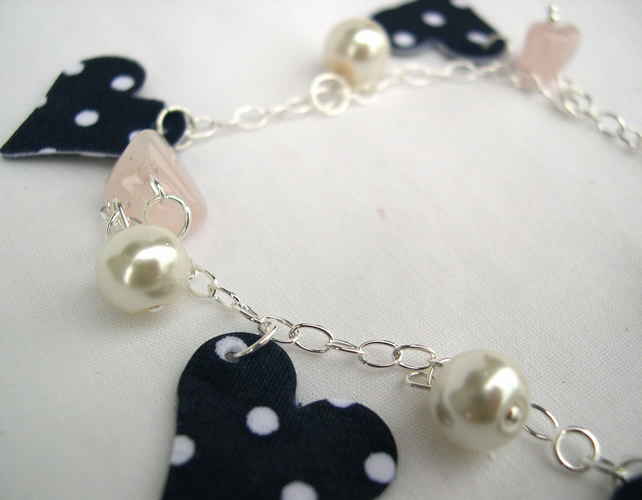 Sterling Silver Hardened Fabric Floral Ditsy Charm Bracelet with Natural Pearls