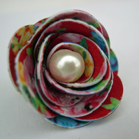 Hardened Fabric Ditsy Floral Red Rose Brooch