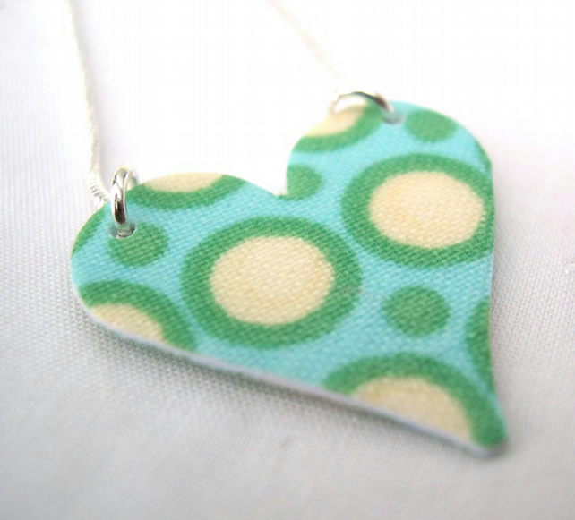 Amy Butler Hardened Fabric Valentines Day Heart Necklace in Aqua