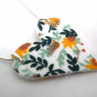 Yellow Ditsy Floral Hardened  Heart Necklace
