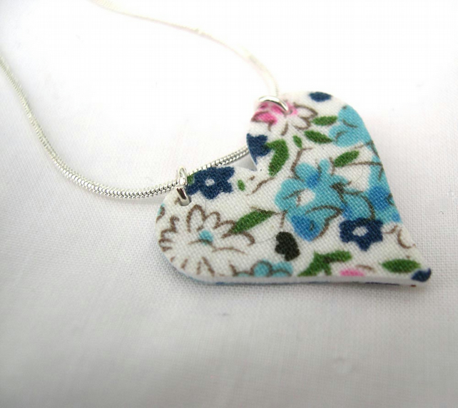 Blue Ditsy Floral Hardened Fabric Valentines Day Heart Necklace