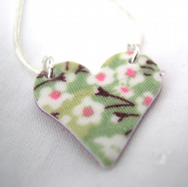 Apple Green Ditsy Floral Hardened Fabric Valentines Day Heart Necklace