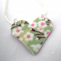 Apple Green Ditsy Floral Hardened Fabric Heart Necklace