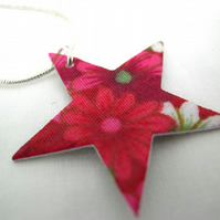 Fucshia Star Ditsy Floral Hardened Fabric Valentines Day Star Necklace