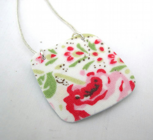 Cath Kidston Ditsy Floral Hardened Fabric Valentines Day Pendant Necklace