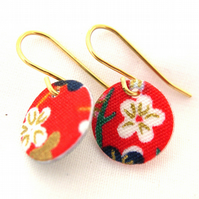 9ct gold Hardened Chinese Red Floral Fabric Disc Earrings