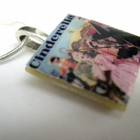 Unusual Unique gift Cinderella with text Ladybird vintage book cover necklace