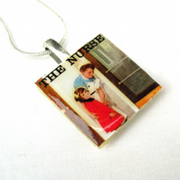Unusual Unique gift The Nurse with text Ladybird vintage book cover necklace