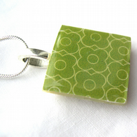 Unusual Unique Gift Silver Plated Ceramic Tile Necklace Retro Resin Pendant