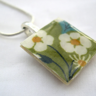 Silver Plated Ceramic Tile Necklace Liberty of London Print Resin Pendant