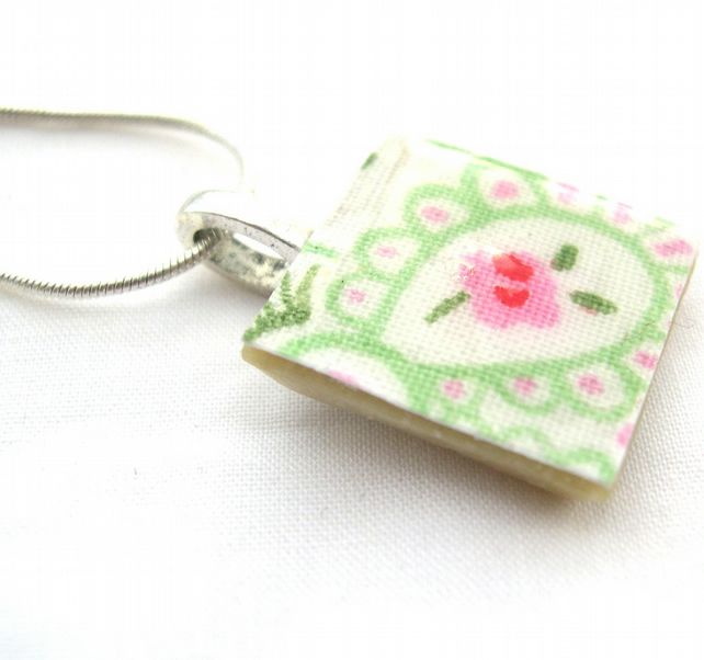 Silver Plated Ceramic Tile Necklace Cath Kidston Print Resin Pendant