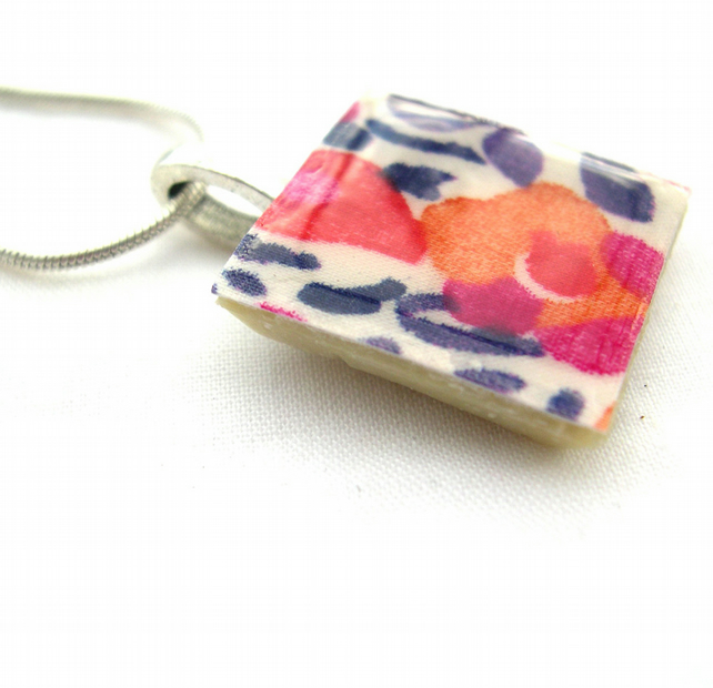 Unusual Gift Silver Plated Ceramic Tile Necklace Liberty of London Resin Pendant