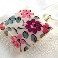 Silver Plated Ceramic Tile Necklace Ditsy Floral Print Resin Pendant