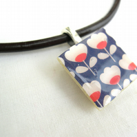 Leather and sterling silver Ceramic Tile Necklace Retro Resin Pendant