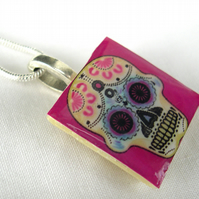 Day of the Dead Gift Silver Plated CeramicTile Necklace Skull Resin Pendant