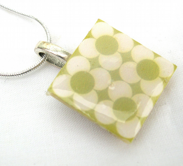 Unusual Unique Gift Silver plated tile necklace Scandinavian and Danish Pattern