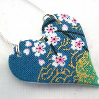 Chinese Floral Green Blue Ditsy Oriental China Hardened Fabric Heart Necklace