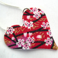 Chinese Floral red Pink Ditsy Floral Hardened Fabric Christmas Heart Necklace