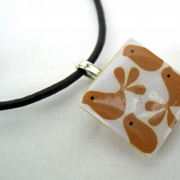Unusual Gift Brown Leather thong Ceramic Tile Retro print  Resin Pendant