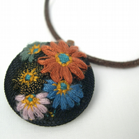 Unusual Gift Brown Cotton thong Upcycled Antique Embroidered Fabric Pendant