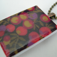 Unusual Gift Antique Brass Effect Tile Necklace Liberty of London Resin Pendant