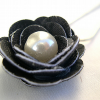 Hardened Fabric Black Print Rose Necklace silver plated