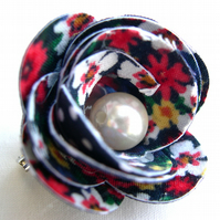 Hardened Fabric Ditsy Floral Multi coloured Rose Brooch