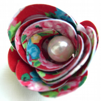 Hardened Fabric Ditsy Floral Red Vintage Print coloured Rose Brooch