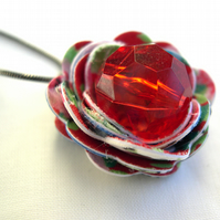 Hardened Fabric Red Vintage Print Rose Necklace silver plated with Resin Jewel
