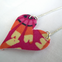 Hot Pink Abstract Hardened Fabric Heart Necklace