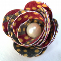 Hardened Fabric Floral indian Sari  Print coloured Rose Brooch