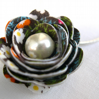 Hardened Fabric Woodland Print Rose Necklace silver plated
