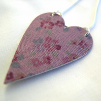Hardened Purple Ditsy Print Heart  Necklace