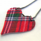 Hardened Fabric Red Scottish Clan Tartan Heart Floral Necklace