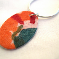 Red Orange  Abstract Hardened Fabric Oval Pendant  Necklace