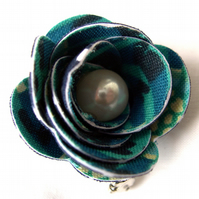Hardened Fabric Ditsy Floral teal Rose Brooch