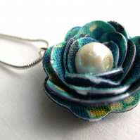 Hardened Fabric Aqua Circle Print Rose Necklace silver plated