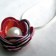 Hardened Fabric Red Circle Print Rose Necklace silver plated